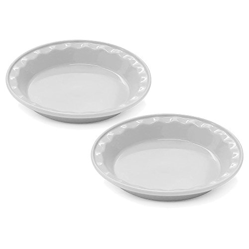Chantal Easy As Pie Glossy White Ceramic 9 Inch Pie Dish, Set of 2 ()