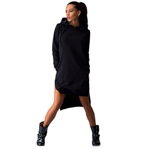 Luweki Women Sweatshirt Dress Double Split Hoodie Pullover Pockets Sweater (XL, Black) (Split Sweatshirt compare prices)