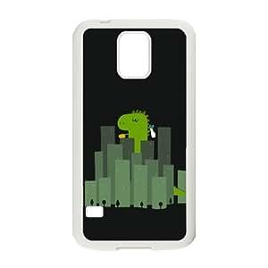 Caja del teléfono Samsung Galaxy S5 Funda Blanca Wandering lindo del dinosaurio en Ciudades N8C2MB personalizada Phone Case Funda Moda