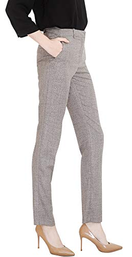 (Marycrafts Women's Office Work Dress Slacks Pants Trousers Tall S Gray Tweed)
