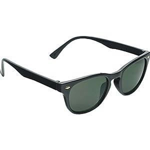 True Gear iShield Re-invented Retro Style Sunglasses with Key hole Bridge (Shiny Black with G15 Lens)