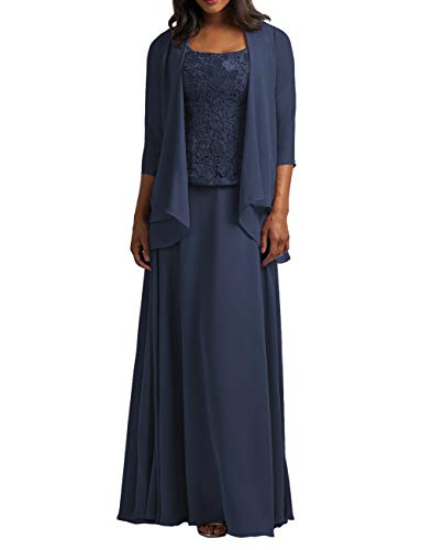 Cdress Chiffon Mother of The Bride Dresses with Jacket Long Evening Formal Gowns Plus Size Lace Prom Dress Navy Blue US ()