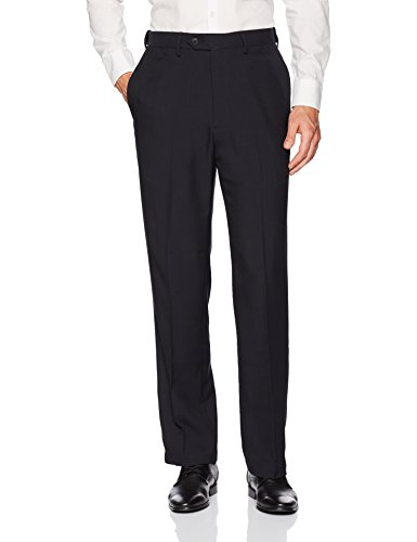 Haggar Men's Repreve Stria Hidden Expandable Waist Plain Front Dress Pant, Navy,40x32