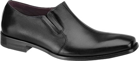 Johnston & Murphy Mens In Pelle Di Vitello Nera Con Cucitura Scollatura Centrale