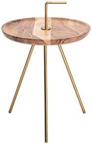 2020 Cool DuNord Design bijzettafel metaal acacia massief hout rond 36 cm natuur goud 3TmBWPF