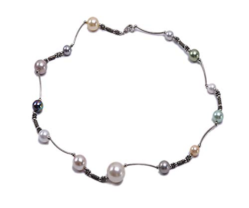 JYX Shell Pearl Station Necklace Multi-size 8-16mm Multicolor Round Seashell Pearl Chain Necklace Gems Beads String Jewelry 19