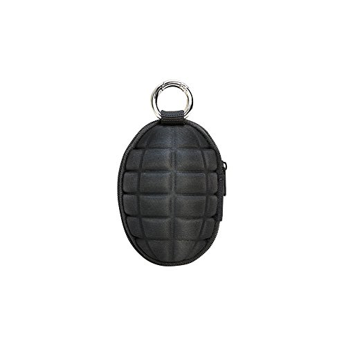 BLACK Hand Grenade Shaped Style Keychain Coin Money Change Pocket Pouch Holder