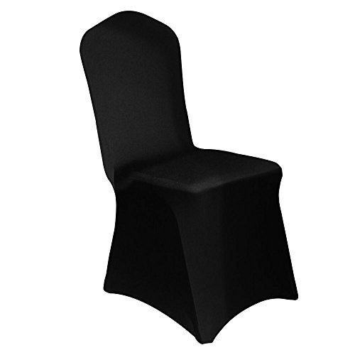 - Haorui Spandex Chair Covers for Dining Room Banquet Wedding Party (4 pcs, Black)
