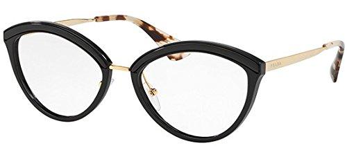Prada Women's Cat Eye Glasses, Black/Clear, One ()