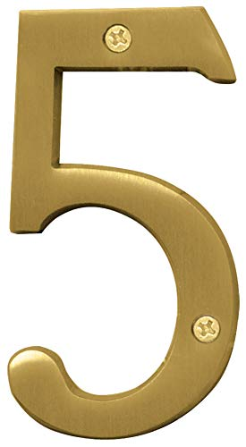 - Hy-Ko BR-43BB/5 5 Number, 4In, Brushed Brass