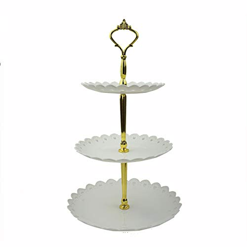 Pedestal Plate Serving (Proshopping 3-tier Plastic Cake stand, Tiered Dessert Stand, Round Cupcake Holder, Fruit Plate Tray, Tea Party Serving Platter, Pastry Pedestal Display Tower - for Wedding Birthday Party, White Gold)