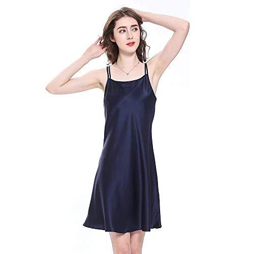 Noche Vestido Pijama Cálido Ropa Verano Mini Seda Fashionista Sche Damas Adorable Corto Dormir De Navy Blau Camisón wqxBIttPHT