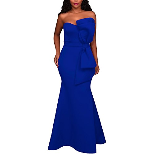 Dress Maxi Z One Sexy Blue SEBOWEL Gown Women's Ruffles bow Party Mermaid Shoulder Evening qZxvC1