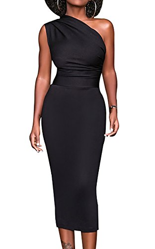 Meannic Women Summer Dress Prom Wedding Party Cocktail Bridesmaid Church Off Shoulder Sexy Bodycon Wrap Elegant Midi Dresses for Women Black,M - One Shoulder Dress