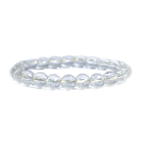 (Natural A Grade Faceted Clear Quartz Gemstone 8mm Round Beads Stretch Bracelet 7