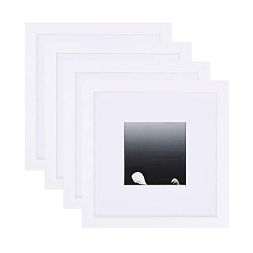(Egofine 8x8 Picture Frames(4 PCS) for Pictures 4x4 with Mat or 8x8 Without Mat Made of Solid Wood for Table Top Display and Wall Mounting Photo Frame)