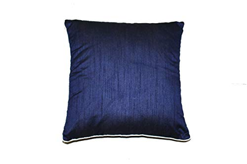 Dupioni raw Silk Cushion Covers | Pillow Shams | Lumbar Covers | Euro Shams | Elegant & Royal Sheen Texture | Well Made | Set of 2 (Blue, 16 x 16 inches) ()