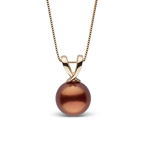 Ribbon Collection Chocolate Tahitian Cultured Pearl Pendant - Yellow Gold - 16 Inch - Chocolate Tahitian Pearl Necklace