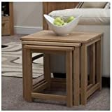 Eton solid oak furniture elegant nest of three coffee tables