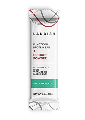 Landish Nutrient-Dense Functional Protein Bar Boosted With Cricket Powder – Mint Chocolate – 50 Grams – Box of 12 – Gluten Free – Dairy Free – Peanut Free – Nut-Free – Non-GMO – Build Strength