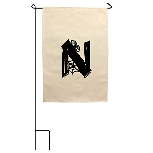 Style In Print N Halloween Spider Monogram Letter N Cotton Canvas Yard House Garden Flag Flag Flag Only 18