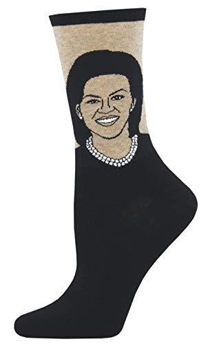 Socksmith Womens Michelle Obama Novelty Crew Socks, Hemp Heather