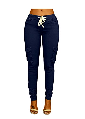 OLUOLIN Womens Solid Color Stretch Drawstring Skinny Pants Cargo Joggers Navy S