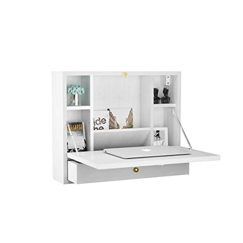TANGKULA Wall Mounted Table Multi-Function Wall Mount Laptop Desk Writing Desk Home Office Computer Desk with Large Storage Area, Wall Desk White