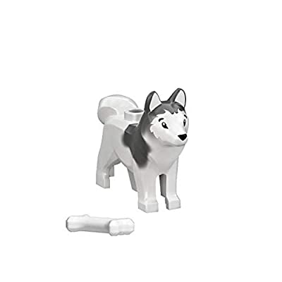 "LEGO Animal Minifigure Husky Arctic Sled Dog with Bone (Aprox. 1"" inch Size): Toys & Games"