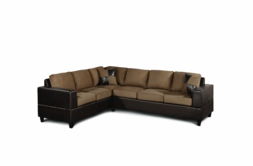 Bobkona Trenton 2-Piece Sectional Sofa with Accent Pillows, Saddle