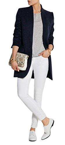 - Women's Navy Stand Collar Long Sleeve Blazer Coat Slim Fit Wool Blend Overcoat XL