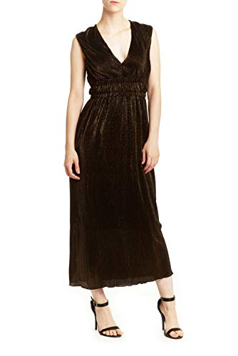 (Romeo and Juliet Couture New Womens Pleated Metallic Maxi Dress Gold Size M $175)