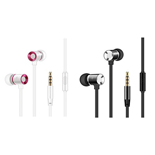 SCASTOE Earbuds, Metal Wired Control In Ear Earphone, Flat Wire Bass Headphone with Mic White
