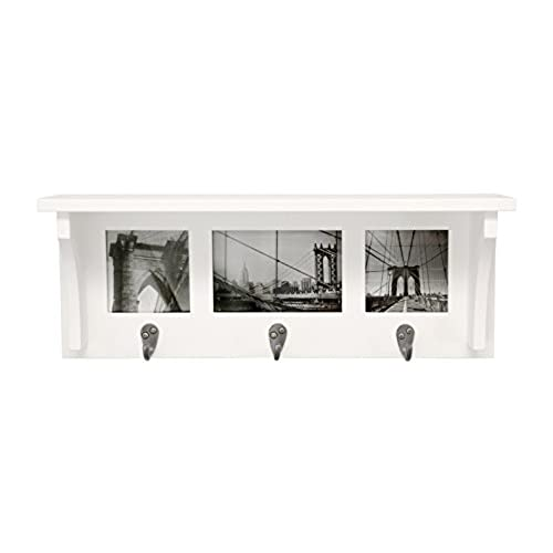 Kiera Grace Riley Wall Shelf And Picture Collage With 3 Hooks, 18.5 Inch By  7 Inch, Holds 2  4 By 4 Inch And 1  4 By 6 Inch Photo, White