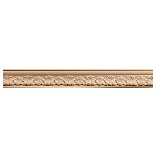 Ekena Millwork MLD03X03X05ACMA 3 3/8-Inch H x 3 3/4-Inch P x 5-Inch F x 96-Inch L Acanthus Leaf Carved Wood Crown Moulding, Maple (Maple Crown Moulding)