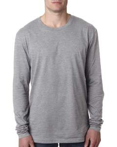 ium Fitted Long-Sleeve Crew Tee (N3601) -HEATHER GR -L (Banana Fitted Jersey T-shirt)