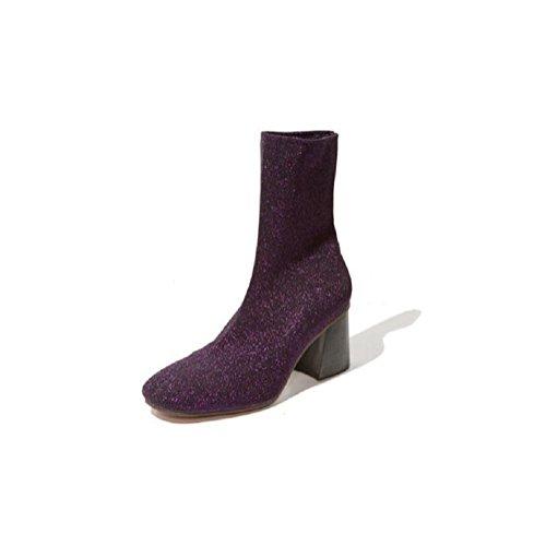 Tacco alto Stivaletti tubo corto lato positivo di stirata delle donne di Bootie , purple , 34