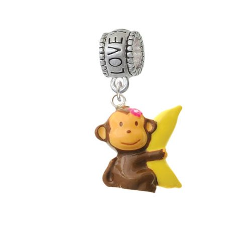 Resin Monkey Hugging a Banana - Love You More Charm Bead by Delight Jewelry (Image #3)