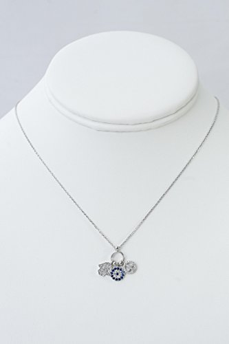 Cubic Zircon Charm Necklace, Featuring Hamsa Hand, Evil Eye and Peace Sign (Couture Sign Peace)