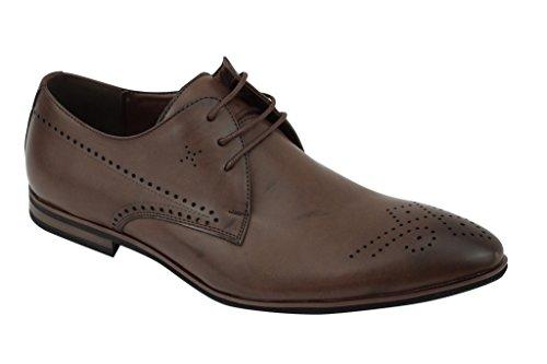 Xposed Zapatos de Cordones de Piel Sintética Para Hombre Tan-Black Mi5gg3F1B