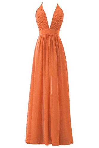 Plongeant Robe Formelle Soirée De Bal Du Cou De Dos Nu Féminin Dys Plissé Fente Supérieure D'orange