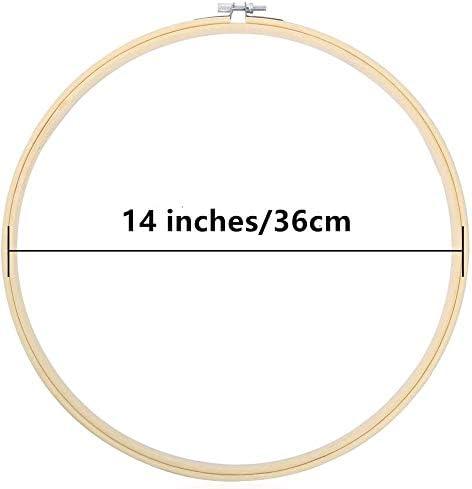 TOKERD 36cm Telaio da Ricamo Legno Grandi Regolabile Cerchio da Ricamo bamb/ù Cerchi da Ricamo Rotondo Anello a Cerchio a Punto Croce per Il Cucito d/'Arte Craft Decorazione