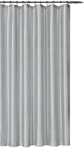 SALLY TEXTILES INC Luxury Fabric Shower Curtain: Shimmering Textured Jacquard Cloth (Silver)
