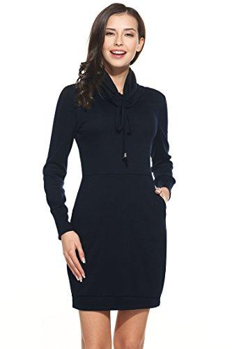 Teamyy Vestido casual Cuello alto Manga larga para Mujer Azul marino