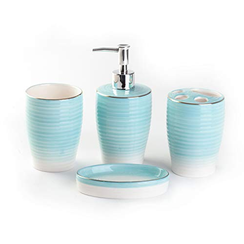 Bloom Flower 4-Piece Stoneware Bathroom Accessory Set- Toothbrush Holder, Tumbler, Soap Dish & Dispenser