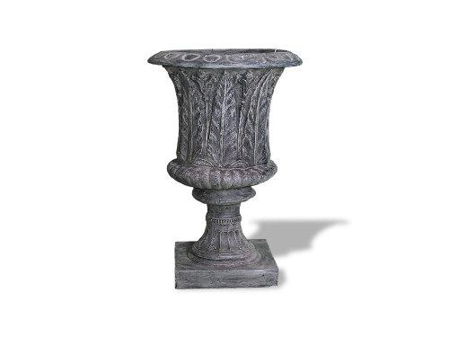 (Amedeo Design ResinStone 2509-51C Palm Leaf Urn, 24 by 24 by 34-Inch, Charcoal)