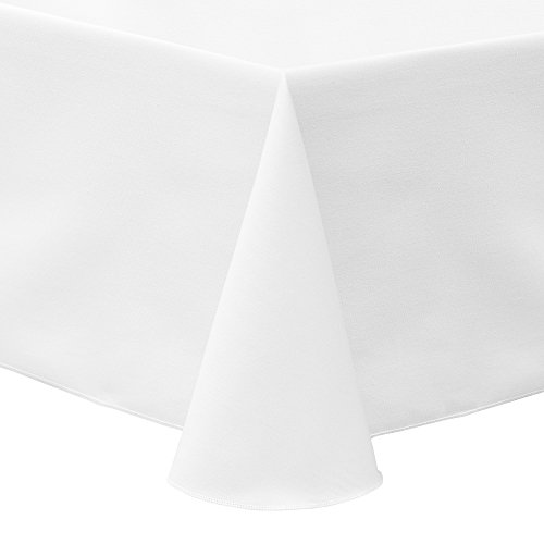 Ultimate Textile Poly-Cotton Twill 60 x 84-Inch Oval Tablecloth White
