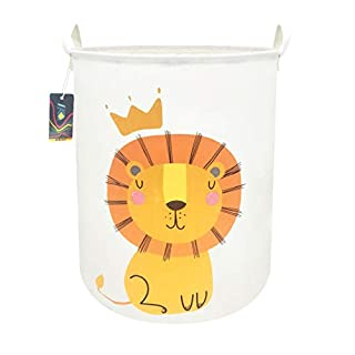 """HKEC 19.7""""Waterproof Foldable Storage Bin, Dirty Clothes Laundry Basket, Canvas Organizer Basket for Laundry Hamper, Toy Bins, Gift Baskets, Bedroom, Clothes, Baby Hamper (Lion)"""