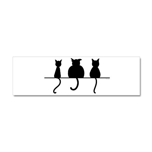 36 x 11 Wall Vinyl Sticker Three Black Cats on a Wall