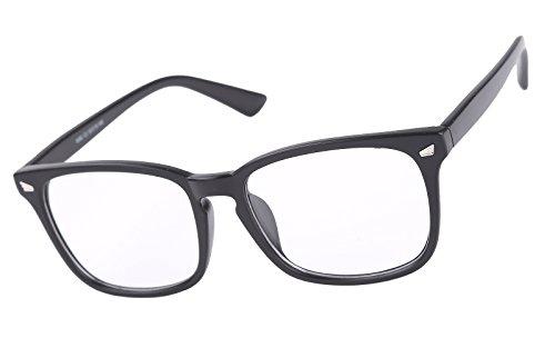 Agstum Wayfarer Plain Glasses Frame Eyeglasses Clear Lens (Matte black, 53)